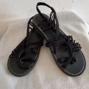90b1876ecb8 Everelax black rope flat sandals NWOT sz 9